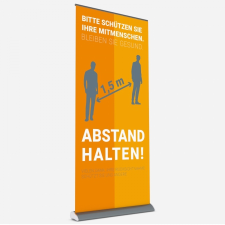 Roll Up Display Slim Line 100 - Abstand halten!